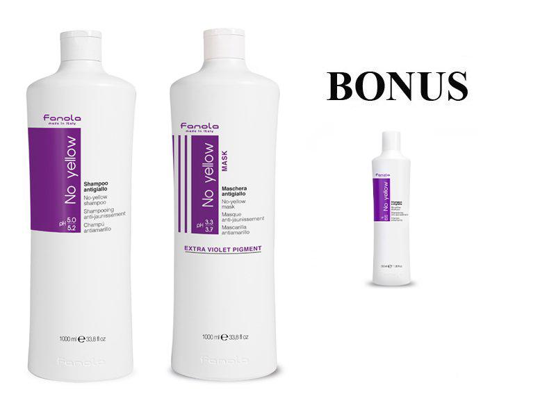 AKCIA: Fanola No yellow maska, 1000 ml a šampón, 1000 ml pre odfarbené, blond, melírované alebo šedivé vlasy + No Yellow šampón, 350 ml
