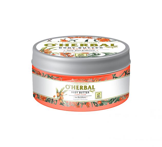 O'HERBAL Vegan Body Butter Sunny Glow - tělové máslo sluneční záře s rakytníkem, 200 ml