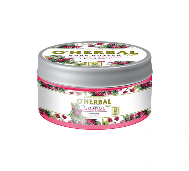 O'HERBAL Vegan Body Butter Amaranth Delicacy - tělové máslo amarant s malinami, 200 ml