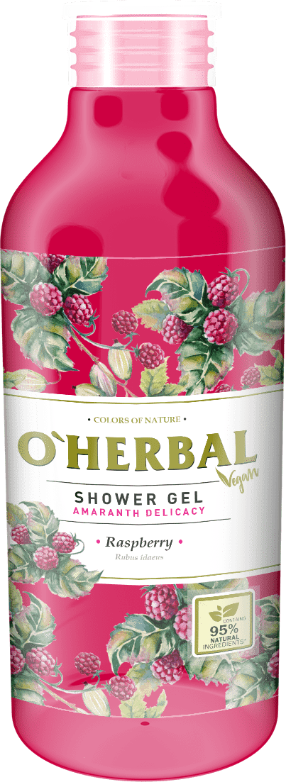 O'HERBAL Vegan Shower Gel Amaranth Delicacy - sprchový gel amarant s malinami, 400 ml