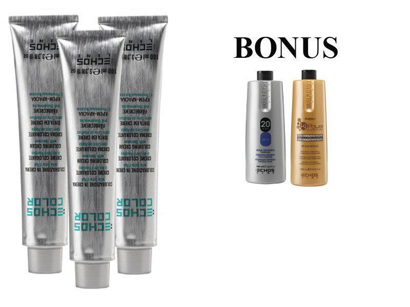 AKCIA: 15 ks ECHOSLINE COLOR prof. krémová farba na vlasy + Oxidant 6%, 1000 ml + kiPower šampón, 1000 ml
