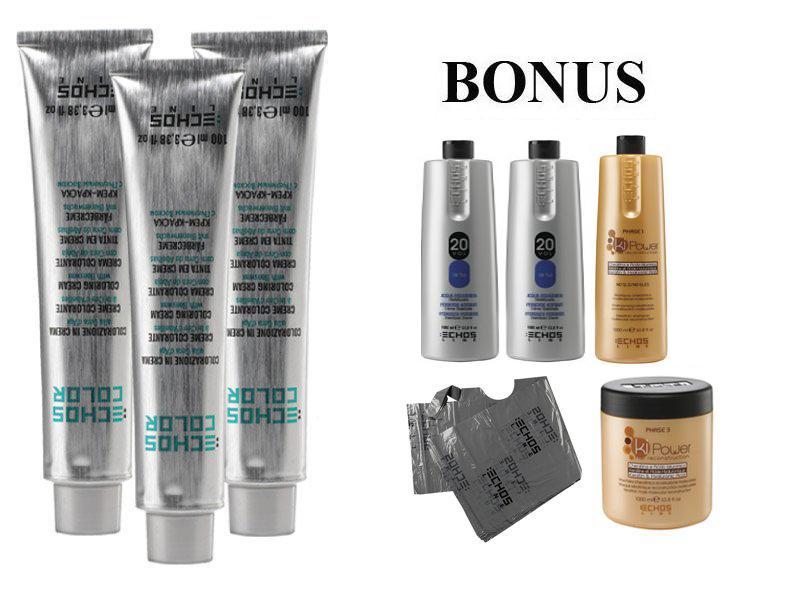AKCE: 20 ks ECHOSLINE COLOR prof. krémová barva na vlasy + 2x Oxidant 6%, 1000 ml + kiPower šampon, 1000 ml + kiPower maska, 1000 ml + pláštěnky, 30 ks