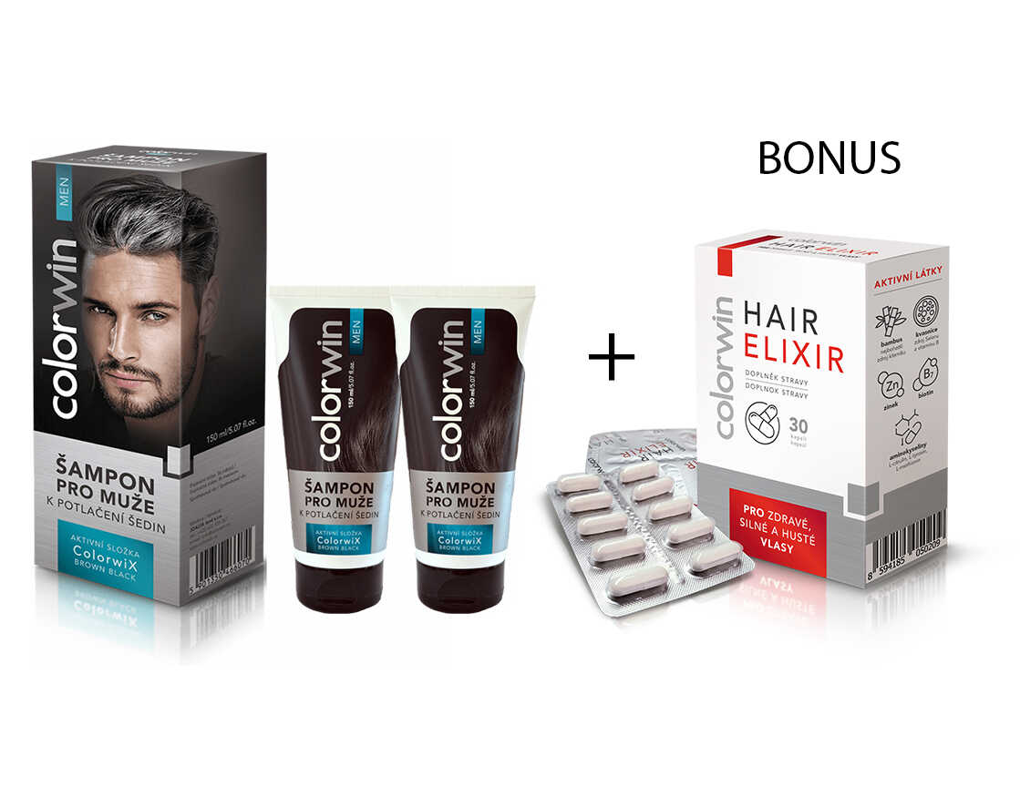 AKCE: 2x Colorwin Colorwix Brown Black shampoo - šampon k potlačení šedin, 150 ml + Colorwin Hair Elixir, 30 kapslí