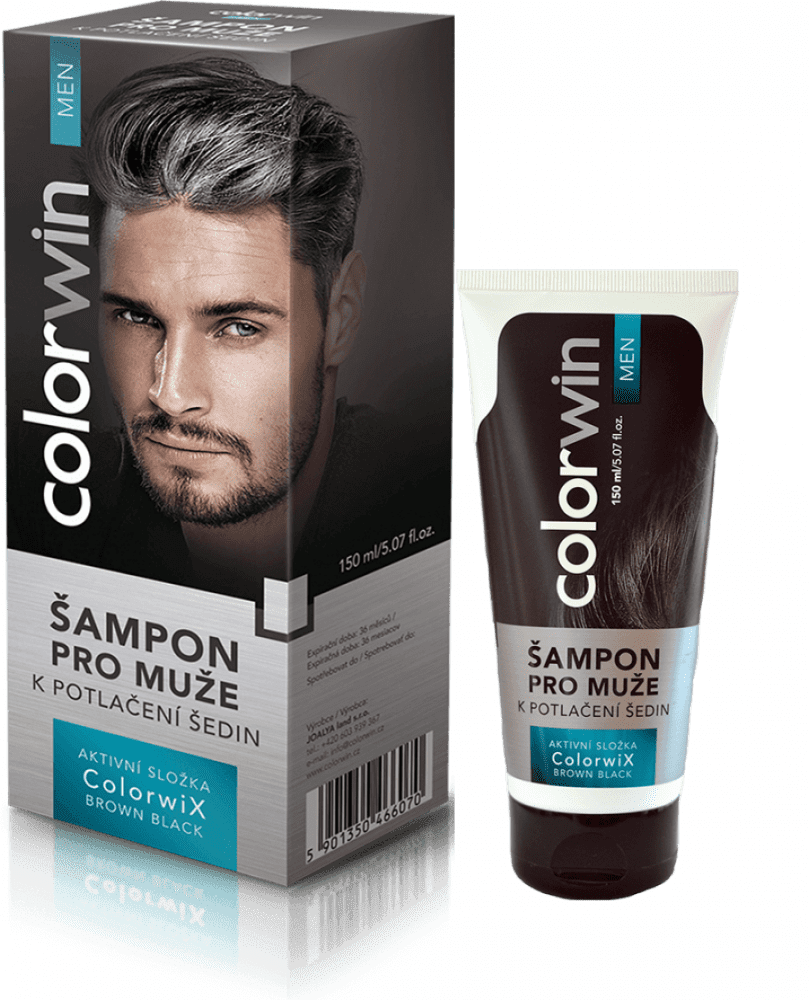 Colorwin Colorwix Brown Black shampoo  - šampón pre mužov k potlačeniu šedín hnedo - čierny, 150 ml