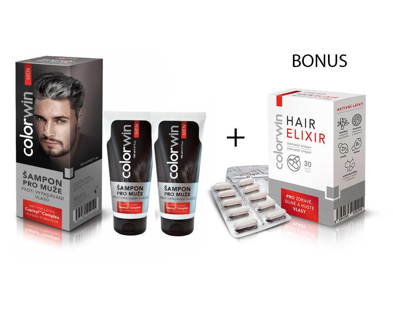 AKCE: 2x Colorwin - šampon proti vypadávání vlasů, 150 ml + Colorwin Hair Elixir, 30 kapslí