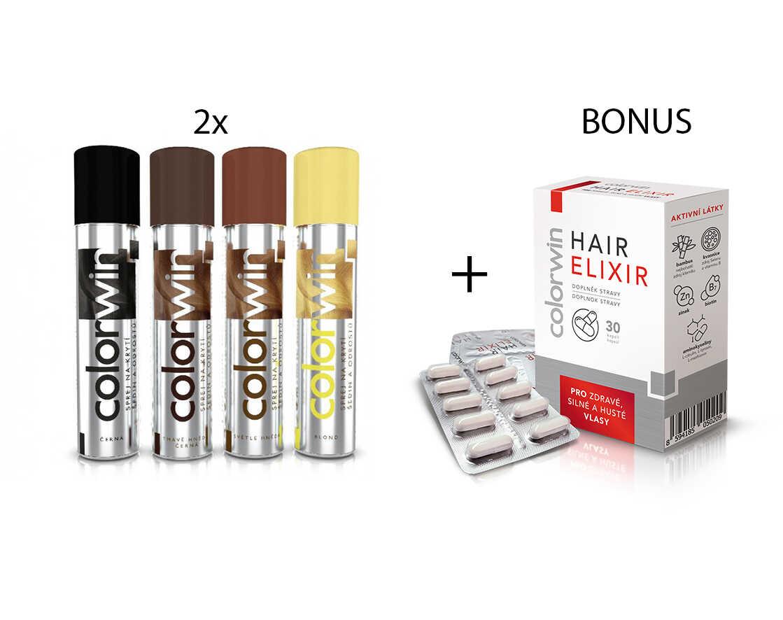 AKCE: 2x Colorwin - sprej na krytí šedin a odrostů, 75 ml + Colorwin Hair Elixir, 30 kapslí