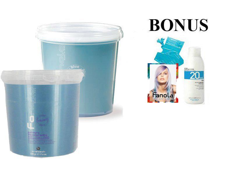 AKCIA: Fanola Polvere decolorante blue a Polvere decolorante violet- modrý a fialový zosvetľovací systém 500 g + 2 x peroxid 6% 1000 ml + kartičky návštevy, 50 ks + pláštenky, 30 ks