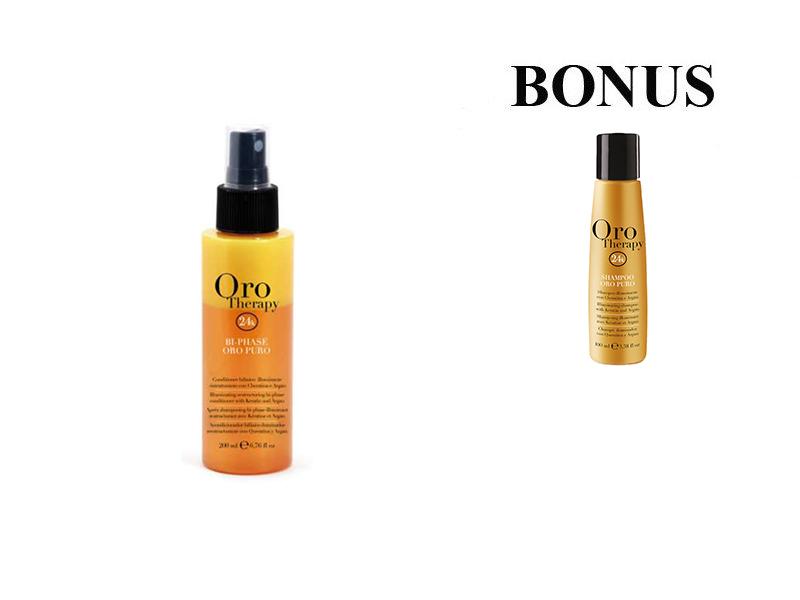 AKCIA: Fanola Oro Therapy Bi-Phase - 2 - fázový kondicionér na vlasy, 200 ml + Fanola Oro Therapy šampón, 100 ml