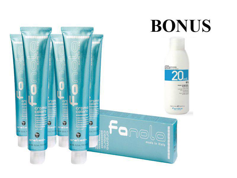 AKCIA: 10 ks Fanola prof. farba na vlasy + oxidant 6% 1000 ml
