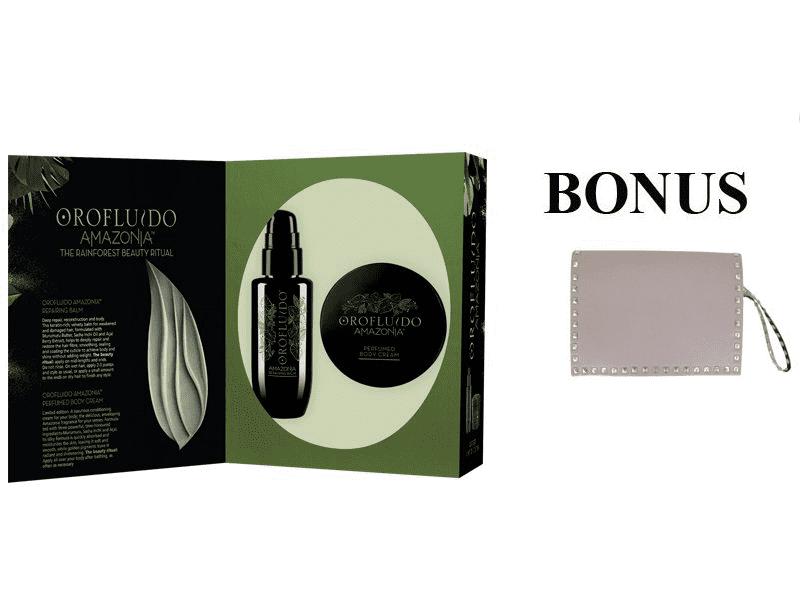 Balíček: OROFLUIDO AMAZONIA sada - obnovujúci balzám, 100 ml + parfumovaný telový krém, 175 ml + Rock Star kabelka