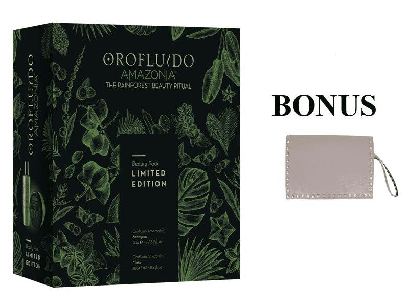 Balíček: Revlon Orofluido Amazonia set - šampón, 200 ml + maska, 250 ml + Rock Star kabelka