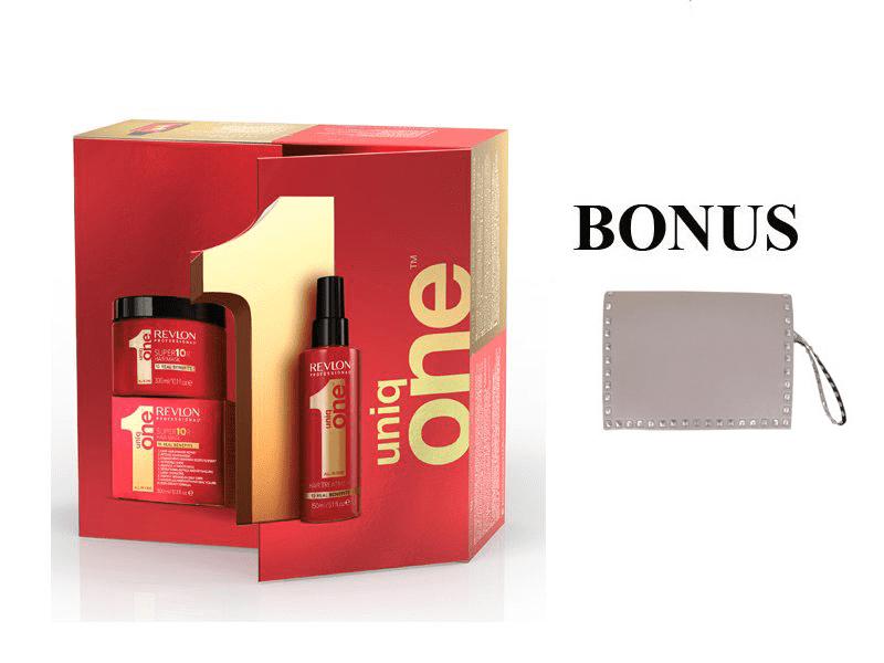 Balíček: UNIQ ONE Care - regeneračná kúra pre všetky typy vlasov, 150 ml + maska na vlasy, 300 ml + Rock Star kabelka