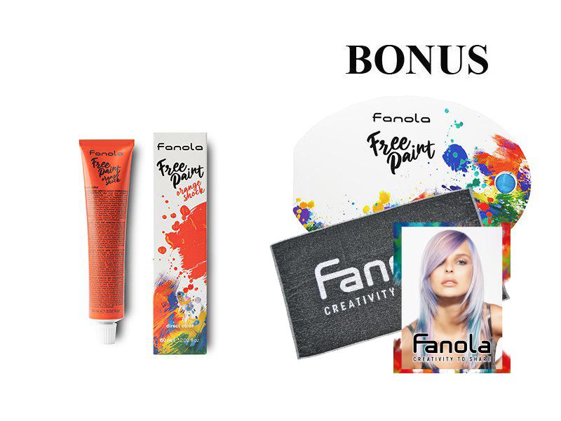 AKCIA: 10x Fanola Free Paint - semipermanentná farba na vlasy, 60 ml + vzorkovník Free Paint + 3x uterák Fanola + 1x návštevné kartičky, 50 ks