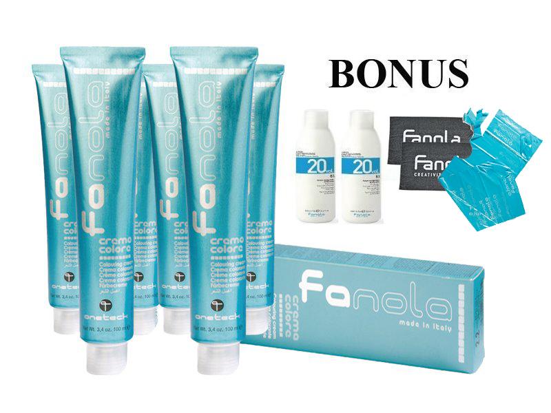 AKCIA: 20 ks Fanola prof. farba na vlasy + 2x oxidant 20 vol 6%, 1000 ml + 2x uterák + 2x jednorázové pláštenky