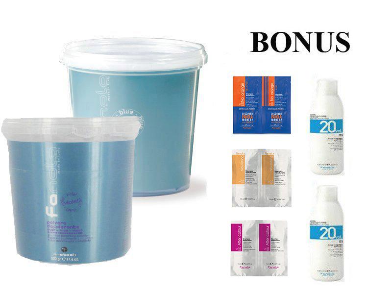 AKCIA: 2x - Fanola Polvere decolorante blue a Polvere decolorante violet- modrý a fialový zosvetľovací systém 500 g + 2x peroxid 6% 1000 ml + vzorky No Orange + After Color + Nourishing
