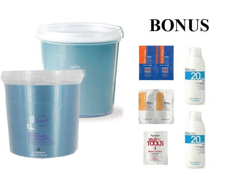 AKCIA: 2x - Fanola Polvere decolorante blue a Polvere decolorante violet- modrý a fialový zosvetľovací systém 500 g + 2x peroxid 6% 1000 ml + vzorky No Orange + Bright Crystals + Nourishing
