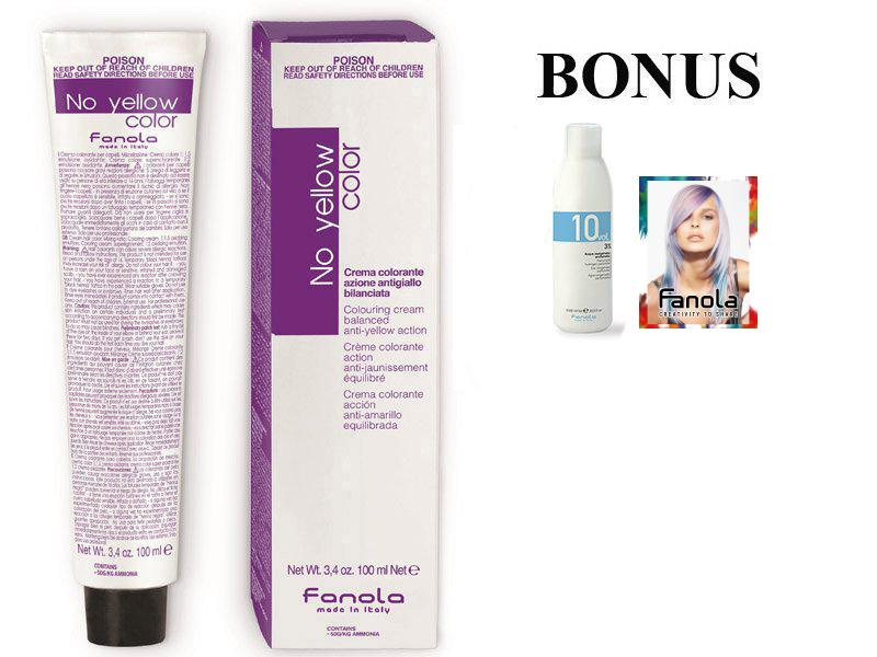 AKCIA: 8 ks Fanola No Yellow Color Toner - profesionálny tonery na vlasy, 100 ml + oxidant 3% 1000 ml + návštevné kartičky