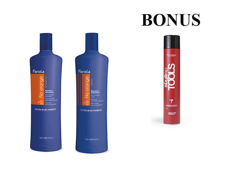 AKCIA: Fanola No orange - šampón, 1000 ml + maska 1000 ml k neutralizácii nežiadúcich odtieňov + Power Style - extra silný lak, 500 ml