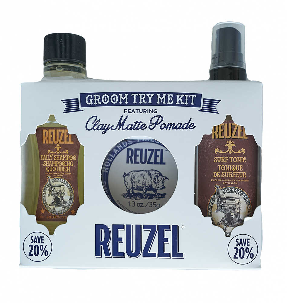 Reuzel Groom Try Me Kit Clay Matte - sada clay matte pomáda, 35 g + daily šampon, 100 ml + surf tonic, 100 ml