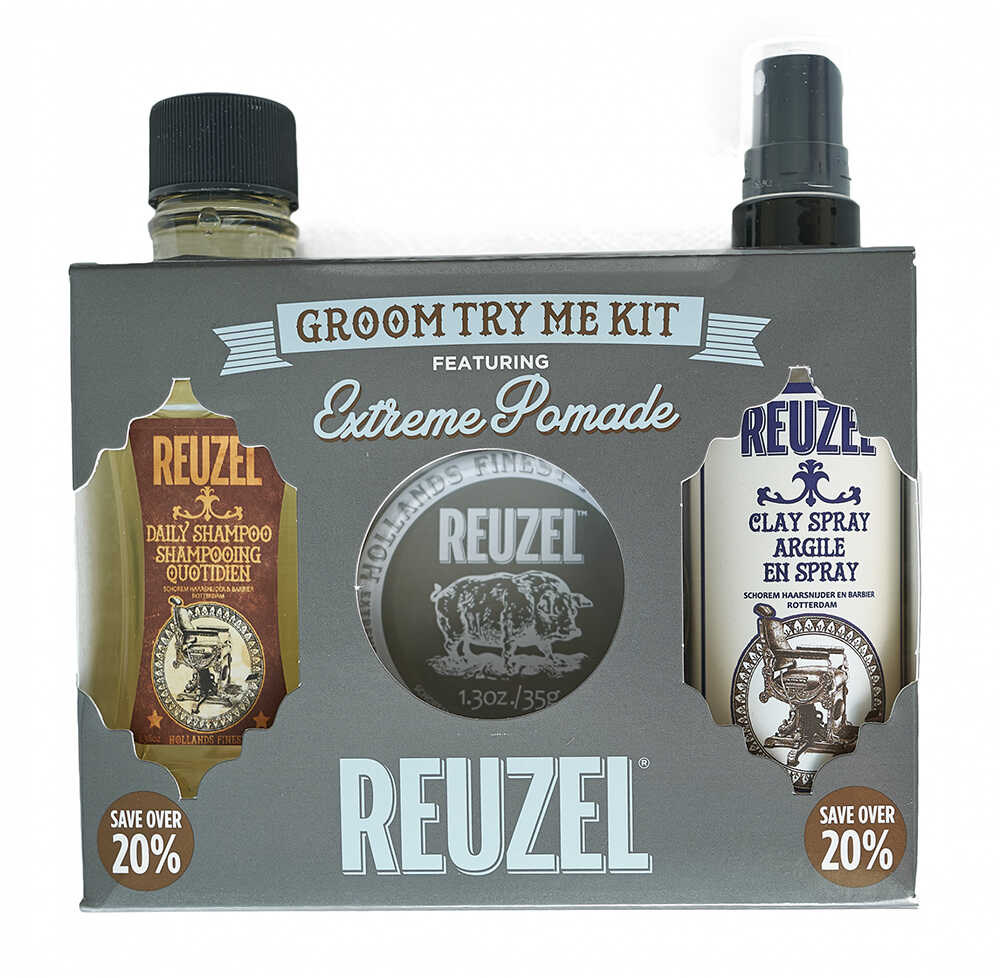 Reuzel Groom Try Me Kit Extreme Hold - sada extreme hold pomáda, 35 g + daily šampon, 100 ml + clay sprej, 100 ml
