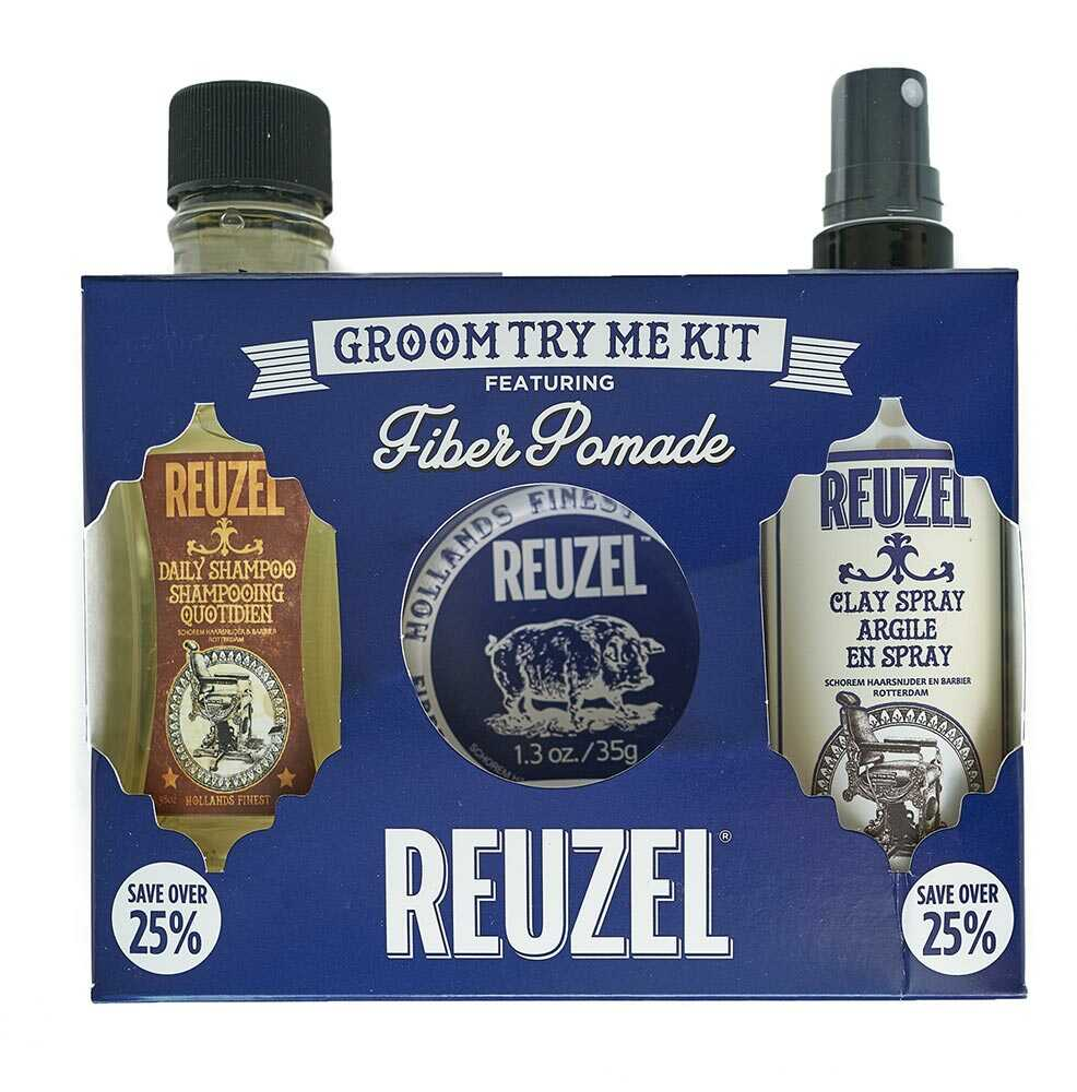 Reuzel Groom Try Me Kit Fiber - sada fiber pomáda, 35 g + daily šampón, 100 ml + clay sprej, 100 ml