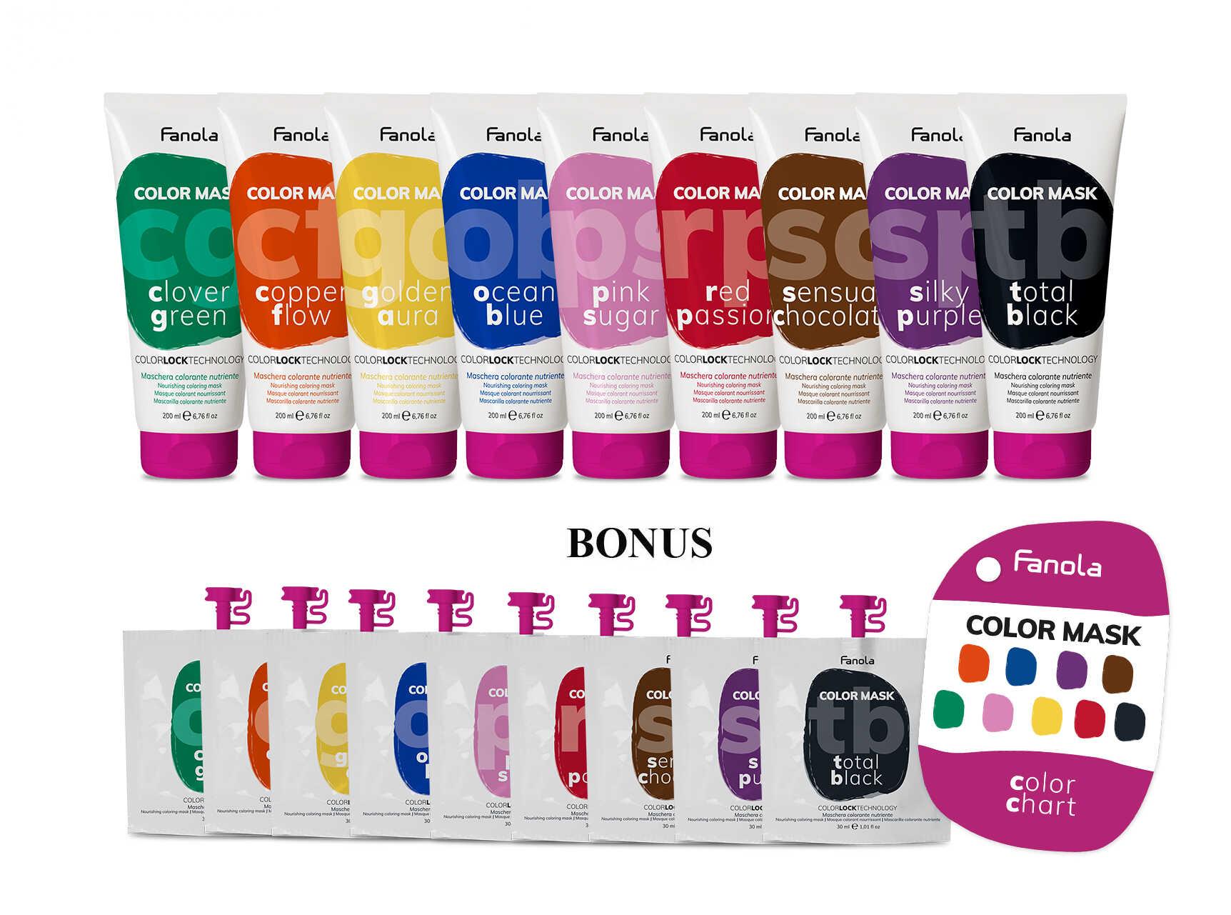 AKCIA: 9x Fanola Color Mask - farebná maska, 200 ml + 9x Fanola Color Mask - farebná maska, 30 ml a vzorkovník Color Mask