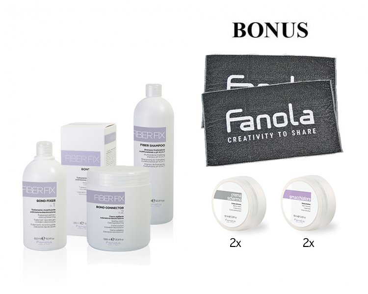 AKCIA: Fanola Fiber Fix - fixer, 500 ml + connector, 1000 ml + šampón, 1000 ml + ZDARMA: 2x uterák Fanola + 2x ochranný krém Barrier, 150 ml + 2x odstraňovač škvŕn, 150 ml