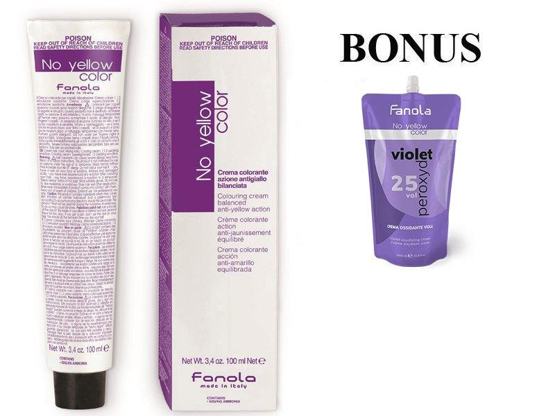 AKCIA: 8 ks Fanola No Yellow Color Toner - profesionálny tonery na vlasy, 100 ml + oxidant No Yellow Violet Peroxyde 25 Vol, 1000ml