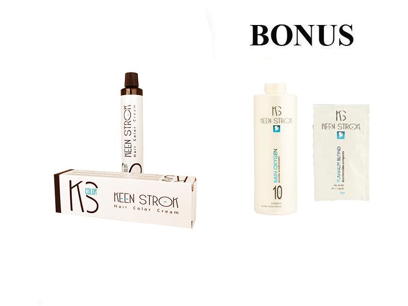 AKCE: 10 ks Keen Strok Color - profesionální barva na vlasy + peroxid Bain Oxygen, 1000 ml + melír Platinum Blond, 50 g