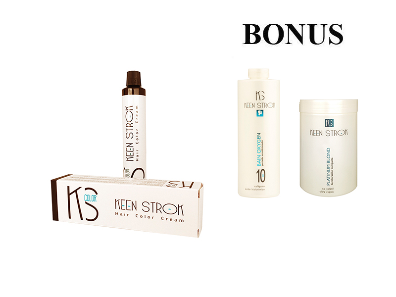 AKCE: 15 ks Keen Strok Color - profesionální barva na vlasy + peroxid Bain Oxygen, 1000 ml + melír Platinum Blond, 500 g