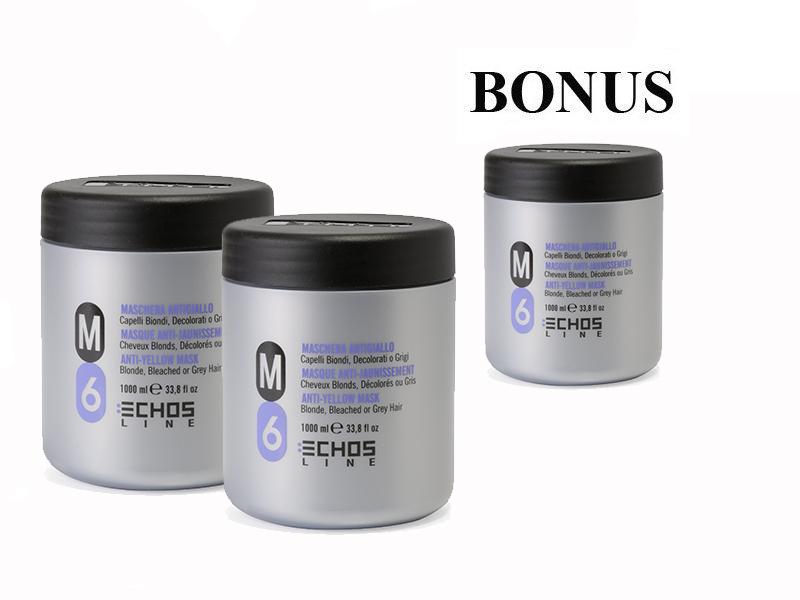AKCIA: 2 + 1 Echosline M6 maska proti žltnutiu vlasov, 1000 ml