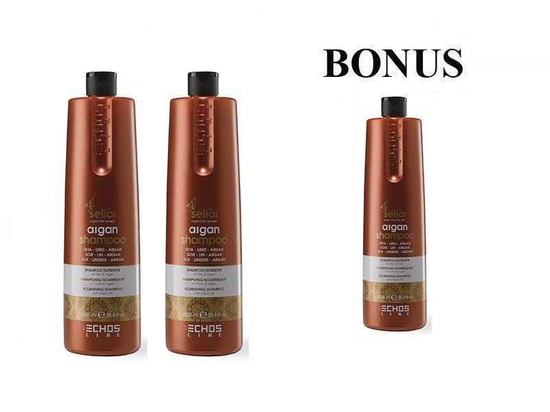 AKCIA: 2 + 1 Echosline Seliár Argan šampón na vlasy s argánovým a ľanovým olejom, 1000 ml