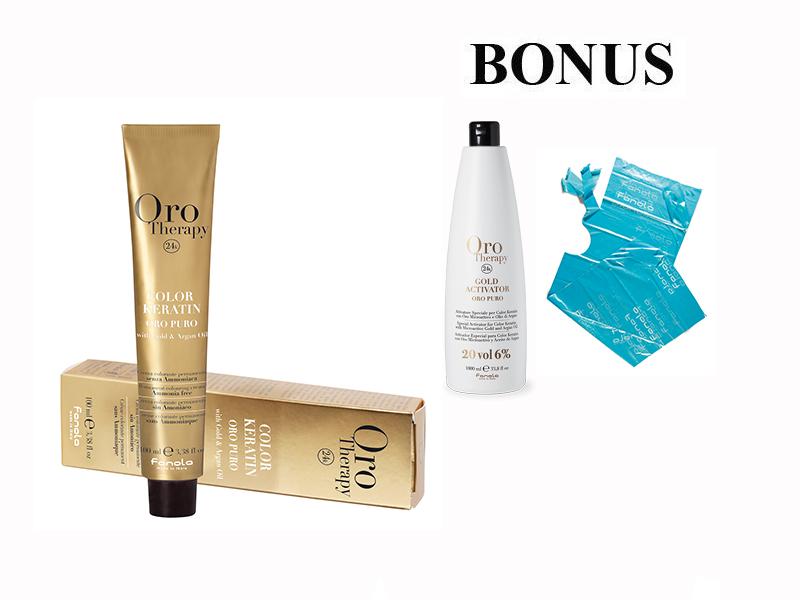 AKCIA: 20 ks Fanola Oro puro - profesionálna bezamoniaková farba na vlasy, 100 ml + oxidant 6%, 1000 ml + jednorázové plášenky Fanola, 30ks
