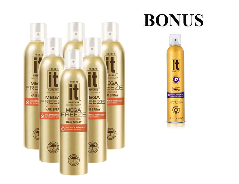 AKCE: 6 x Mega Freeze It Hair Spray 24 Hour Gold, 283 g + suchý šampon Freeze It, 184 g