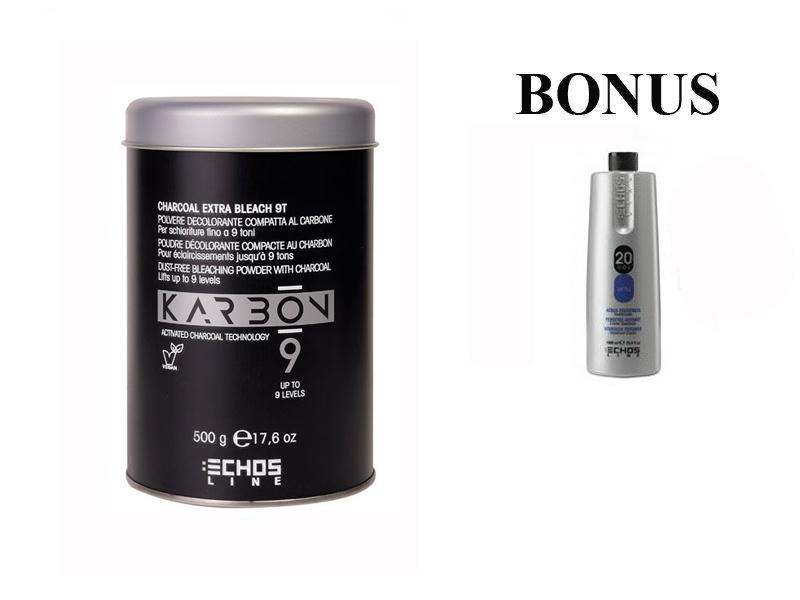 AKCE: Echosline Karbon 9 Bleaching Powder - odbarvovací prášek s aktivním uhlím, 500 g + oxidant 20 vol. 6%, 1000 ml