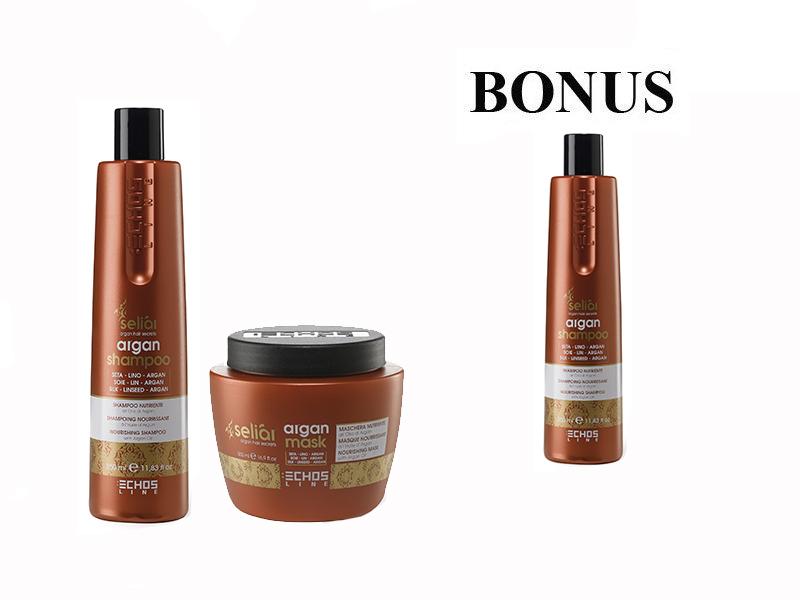 AKCIA: Echosline Seliár Argan výživný šampón, 350 ml a Seliár Argan maska, 500 ml + Seliár Argan šampón, 350 ml