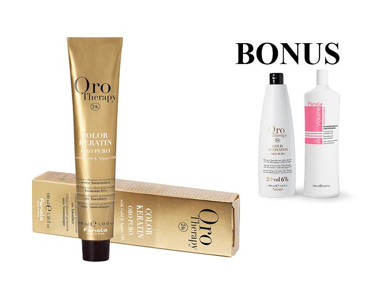 AKCIA: 15 ks Fanola Oro Therapy - profesionálna farba na vlasy, 100 ml + Oro Therapy 6% oxidant, 1000 ml + Volume kondicionér, 1000 ml