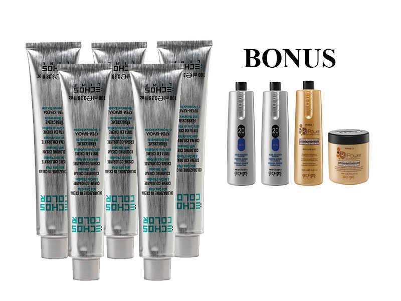 AKCE: 20 ks ECHOSLINE COLOR prof. krémová barva na vlasy + 2x oxidant 6% + Ki Power šampon, 1000 ml + maska, 1000 ml