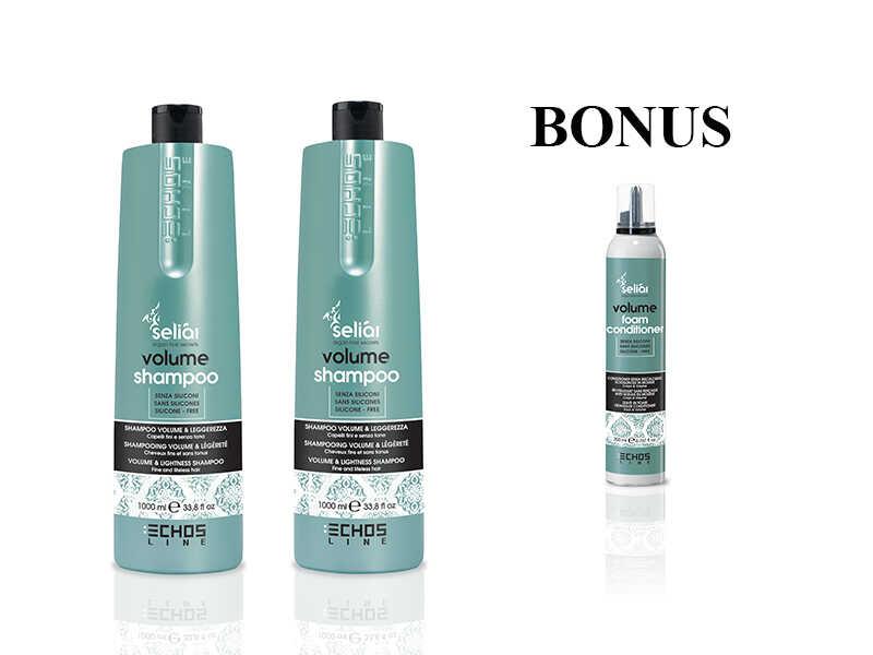 AKCIA: 2x Echosline Seliár Volume shampoo - objemový šampón, 1000 ml + Volume penový kondicionér, 200 ml
