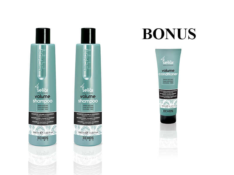 AKCIA: 2x Echosline Seliár Volume Shampoo - šampón pre objem vlasov, 350 ml + Volume kondicionér, 300 ml