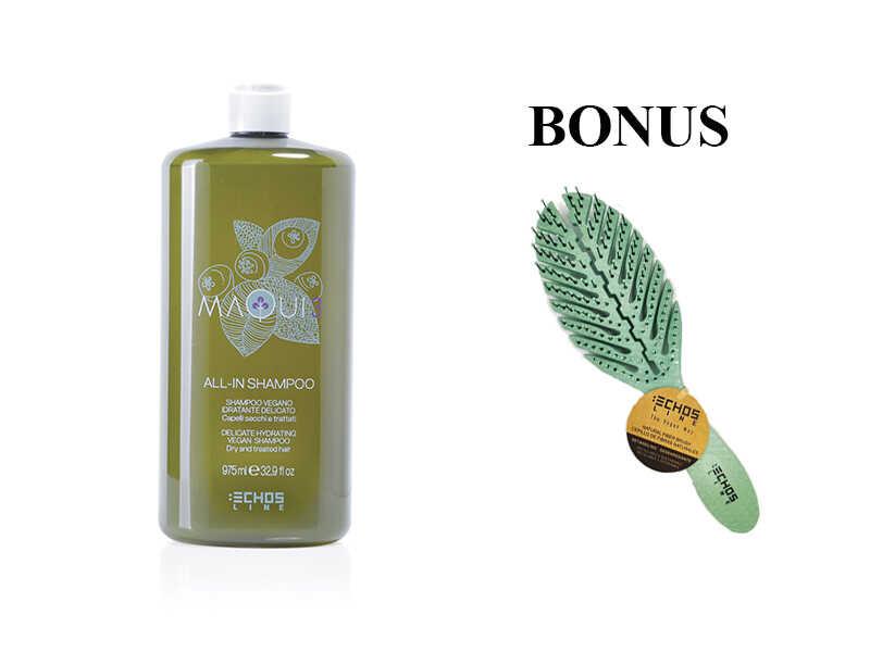 AKCE: Echosline Maqui 3 All-In Shampoo - hydratační šampon pro suché a poškozené vlasy, 975 ml + kartáč na vlasy Echosline