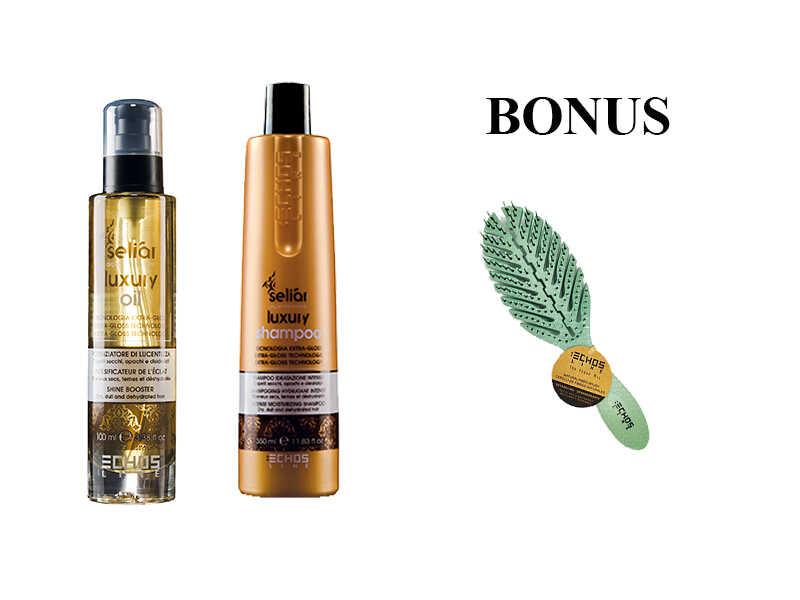 AKCIA: Echosline Seliár Luxury - olej, 100 ml a šampón, 350 ml - pre intenzívnu hydratáciu vlasov + kefa na vlasy Echosline