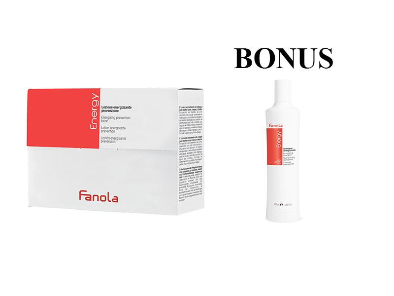 AKCIA: Fanola Energy Ampoule - ampule proti padaniu padaniu vlasov, 10ml x 12ks + Energy šampón proti padaniu vlasov, 350 ml