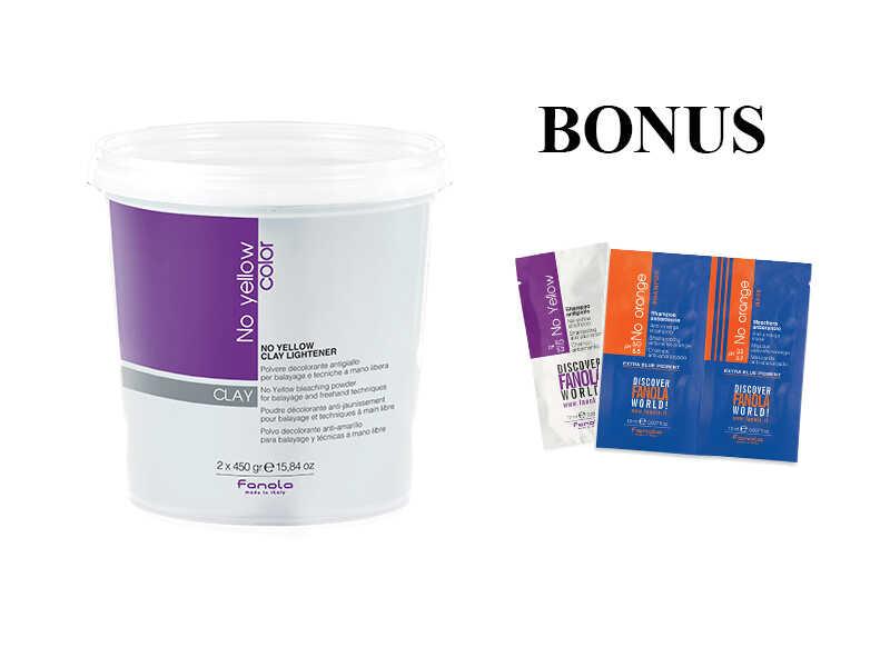 AKCIA: Fanola No Yellow Clay Lightener - odfarbovací prášok s ílom, 2 x 450 g + vzorka No Yellow šampón, 15 ml + vzorka No Orange šampón + maska, 15 ml