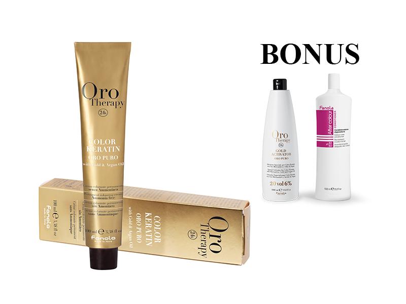 AKCIA: 15 ks Fanola Oro Therapy - profesionálna farba na vlasy, 100 ml + Oro Therapy 6% oxidant, 1000 ml + After Colour kondicionér, 1000 ml