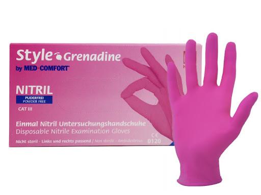 Style Grenadine Nitrile Gloves Powder Free - jednorázové nitrilové rukavice bezpúdrové růžové, 100 ks
