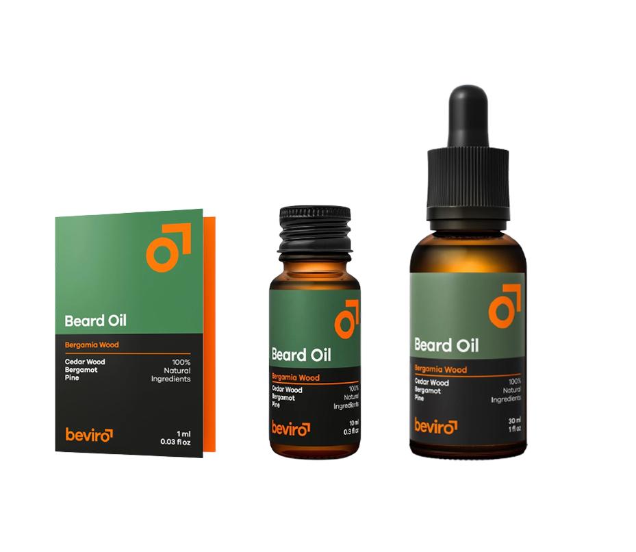 Beviro Beard Oil Bergamo Wood - olej na bradu a vousy s vůní cedru, borovice a bergamotu