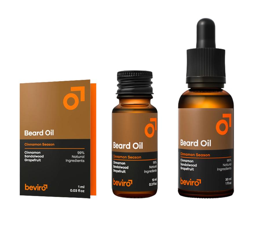 Beviro Beard Oil Cinnamon Season - olej na bradu a vousy s vůní skořice, santalového dřeva a svěžího grepu