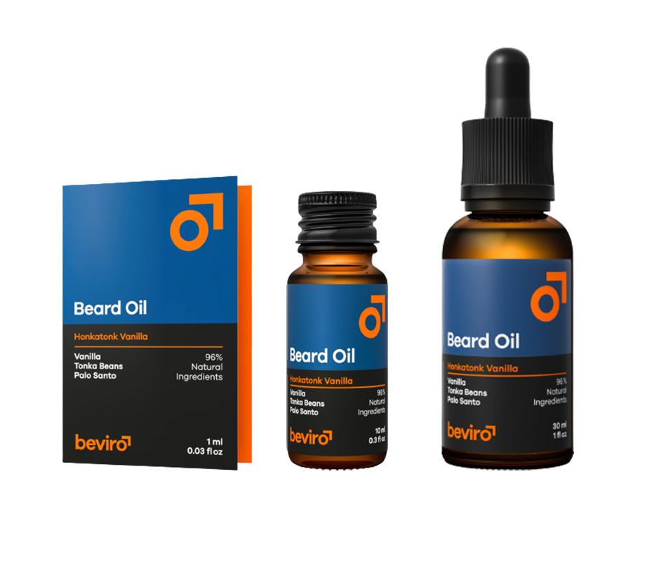 Beviro Beard Oil Honkatonk Vanilla - olej na bradu a vousy s vůní vanilky, tonkových bobů a kopali tmavého
