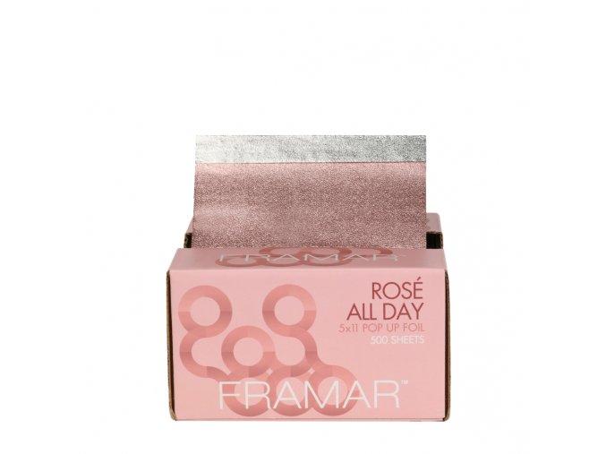 Framar PU-500RG Pop Up Foil Rosé All Day 5x11 - predrezaný svetlo ružoý alobal s textúrou, 500 ks